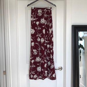Flynn Skye Wrap It Up Skirt XS Wine Blossom Roses